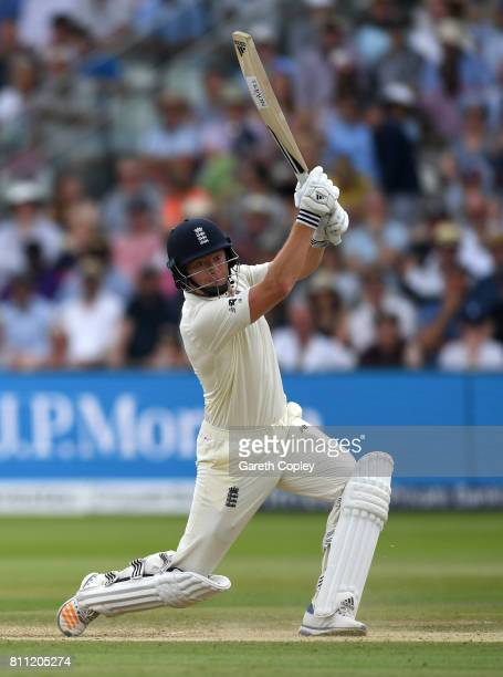 Jonathan Bairstow of England bats during the 4th day of the 1st Investec Test between England and South Africa at Lord's Cricket Ground on July 9...