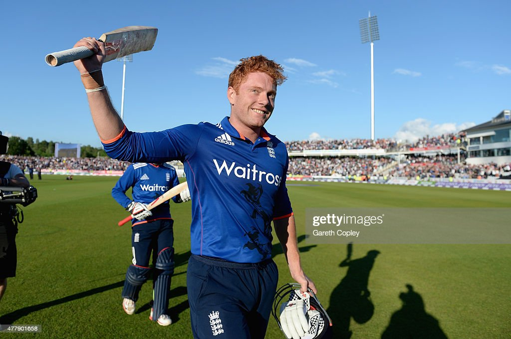 <a gi-track='captionPersonalityLinkClicked' href=/galleries/search?phrase=Jonathan+Bairstow&family=editorial&specificpeople=6893210 ng-click='$event.stopPropagation()'>Jonathan Bairstow</a> of England celebrates winning the 5th ODI Royal London One-Day match between England and New Zealand at Emirates Durham ICG on June 20, 2015 in Chester-le-Street, England.