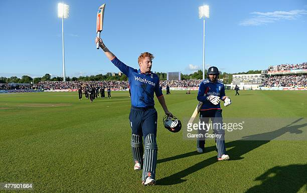 Jonathan Bairstow of England celebrates winning the 5th ODI Royal London OneDay match between England and New Zealand at Emirates Durham ICG on June...