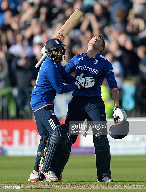 Jonathan Bairstow of England celebrates with Adil Rashid after hitting the winning runs to win the 5th ODI Royal London OneDay match between England...