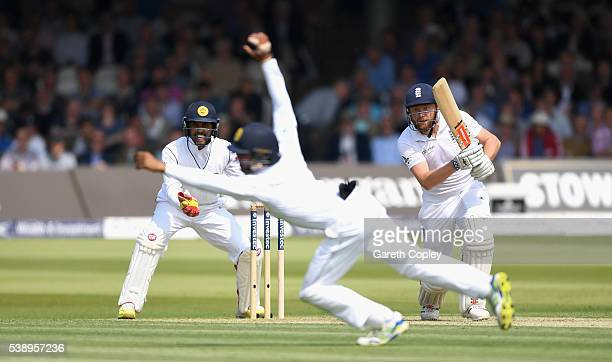 Jonathan Bairstow of England hits past Kaushal Silva of Sri Lanka during day one of the 3rd Investec Test match between England and Sri Lanka at...