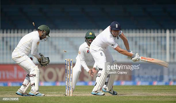 Jonathan Bairstow of England is bowled by Zulfiqar Babar of Pakistan during day three of the 3rd Test between Pakistan and England at Sharjah Cricket...