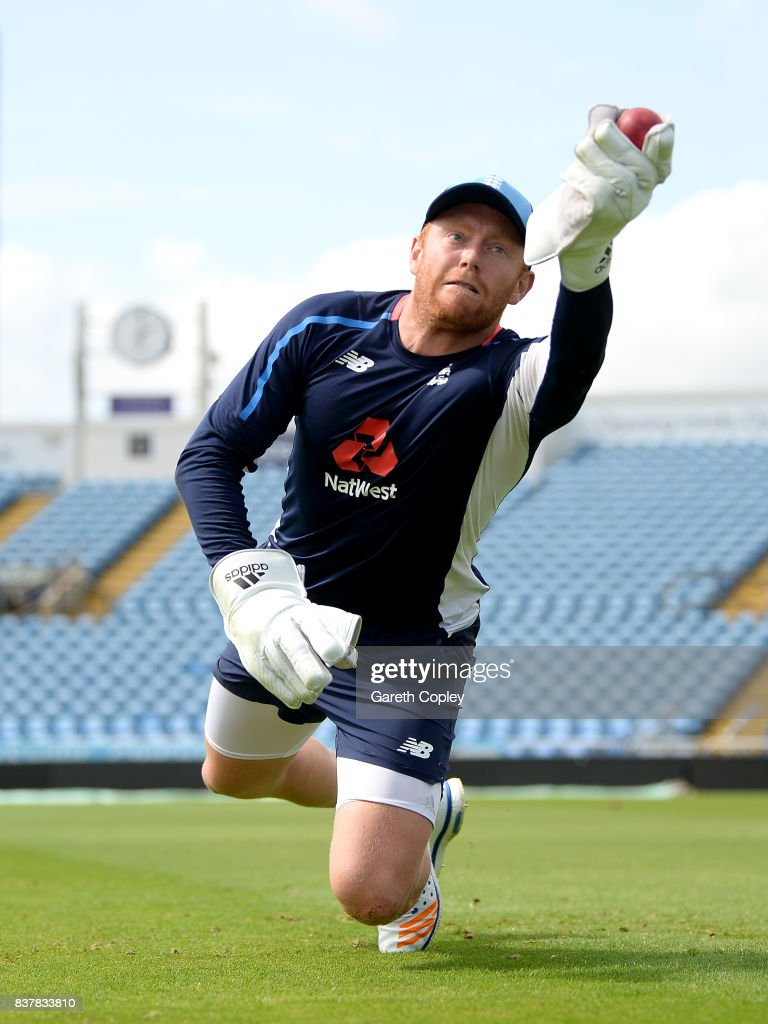 Jonathan Bairstow of England keeps wicket during a nets session at Headingley on August 23, 2017 in Leeds, England.