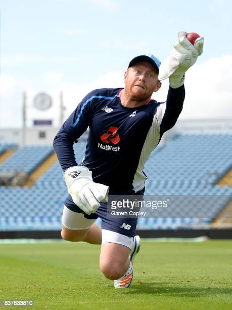 Jonathan Bairstow of England keeps wicket during a nets session at Headingley on August 23 2017 in Leeds England