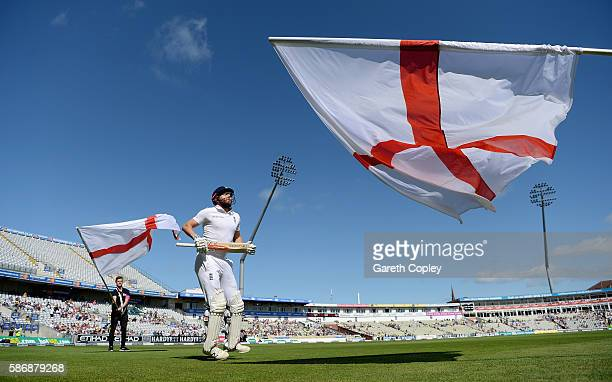 Jonathan Bairstow of England runs out to bat ahead of day five of the 3rd Investec Test between England and Pakistan at Edgbaston on August 7 2016 in...