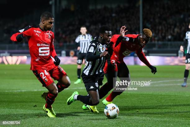 Jonathan Bamba of Angers and Joris Gnagnon of Rennes during the French Ligue 1 match between Angers and Rennes on February 8 2017 in Angers France