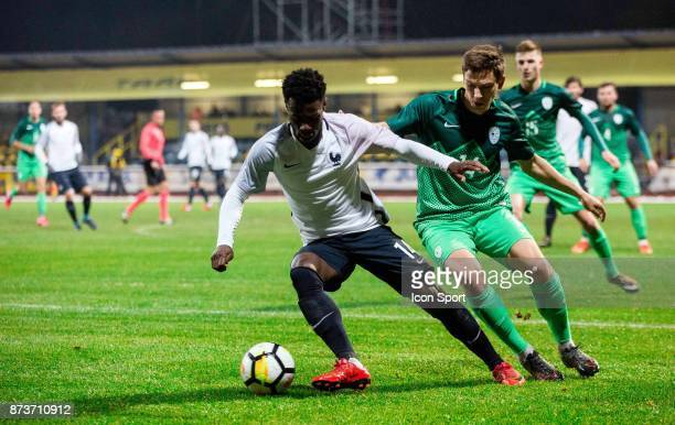 Jonathan Bamba of France during the Under 21s Euro 2019 qualifying match between Slovenia U21 and France U21 on November 13 2017 in Domzale Slovenia