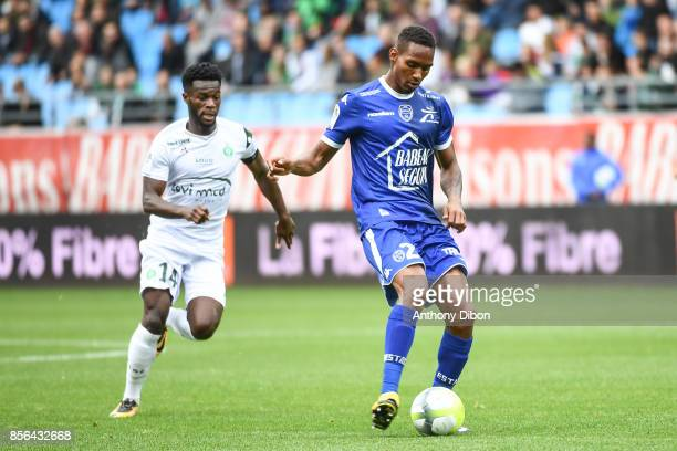 Jonathan Bamba of Saint Etienne and Christophe Herelle of Troyes during the Ligue 1 match between Troyes Estac and AS Saint Etienne at Stade de...