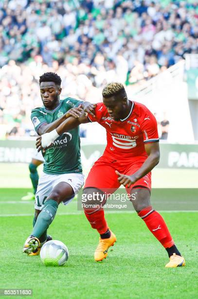 Jonathan Bamba of Saint Etienne and Joris Gnagnon of Rennes during the Ligue 1 match between AS Saint Etienne and Stade Rennais at Stade Geoffroy...