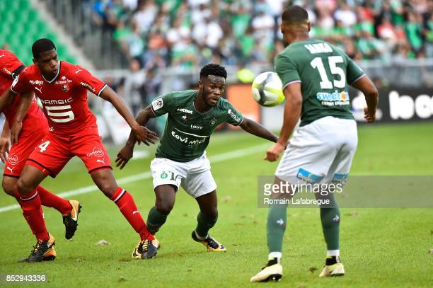 Jonathan Bamba of Saint Etienne and Ludovic Baal of Rennes during the Ligue 1 match between AS SaintEtienne and Stade Rennais at Stade...