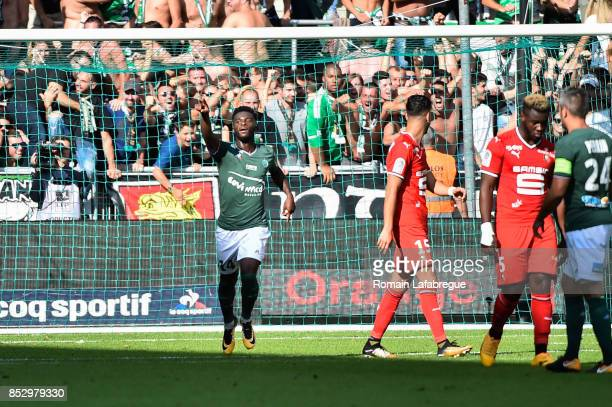 Jonathan Bamba of Saint Etienne celebrates after scoring a penalty during the Ligue 1 match between AS SaintEtienne and Stade Rennais at Stade...