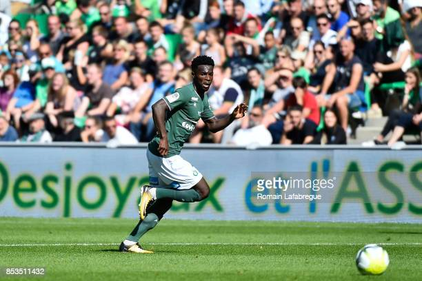 Jonathan Bamba of Saint Etienne during the Ligue 1 match between AS Saint Etienne and Stade Rennais at Stade Geoffroy Guichard on September 24 2017...