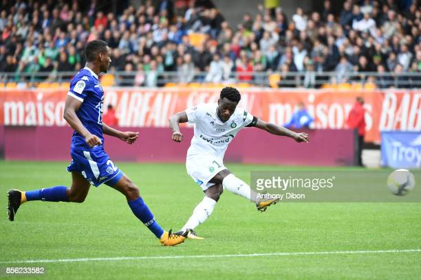 Jonathan Bamba of Saint Etienne during the Ligue 1 match between Troyes Estac and AS Saint Etienne at Stade de l'Aube on October 1 2017 in Troyes