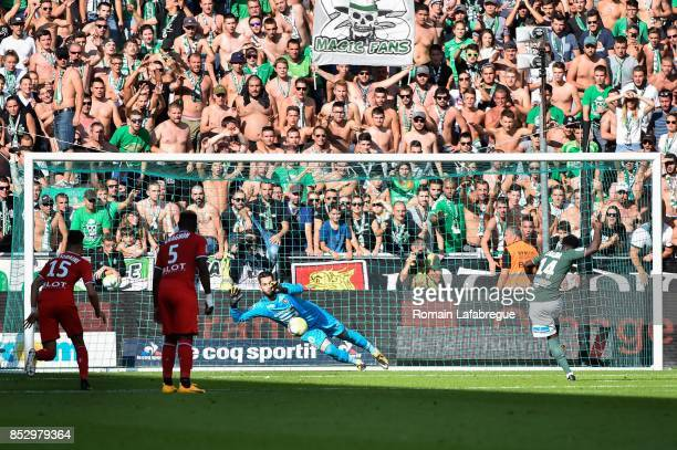 Jonathan Bamba of Saint Etienne kicks a penalty during the Ligue 1 match between AS SaintEtienne and Stade Rennais at Stade GeoffroyGuichard on...