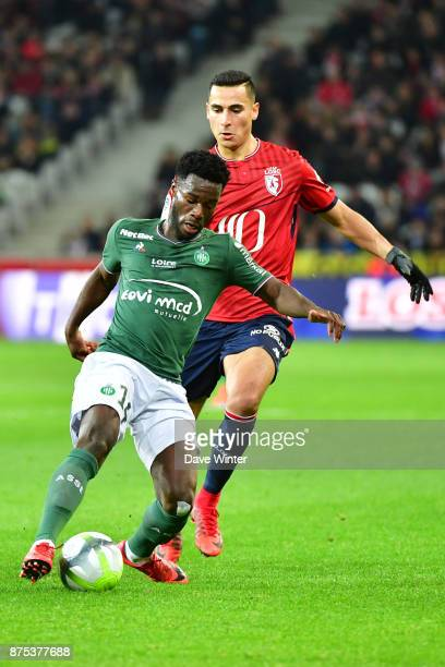 Jonathan Bamba of St Etienne and Anwar El Ghazi of Lille during the Ligue 1 match between Lille OSC and AS SaintEtienne at Stade Pierre Mauroy on...