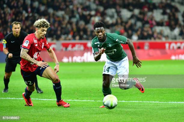 Jonathan Bamba of St Etienne and Kevim Malcuit of Lille during the Ligue 1 match between Lille OSC and AS SaintEtienne at Stade Pierre Mauroy on...