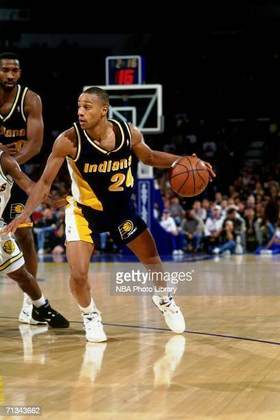 Jonathan Bender of the Indiana Pacers drives to the basket against the Golden State Warriors during a game circa 19992005 at the Arena In Oakland...
