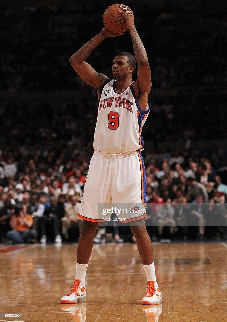 Jonathan Bender #9 of the New York Knicks against the Chicago Bulls at Madison Square Garden on February 17, 2010 in New York, New York.