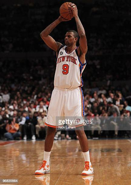 Jonathan Bender of the New York Knicks against the Chicago Bulls at Madison Square Garden on February 17 2010 in New York New York NOTE TO USER User...