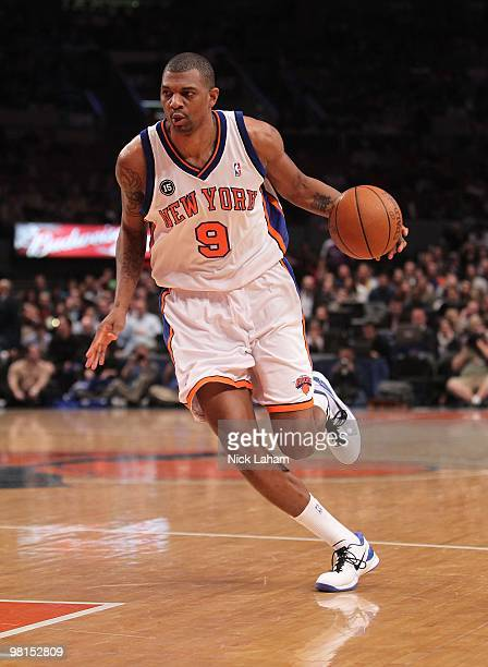 Jonathan Bender of the New York Knicks dribbles the ball against the Philadelphia 76ers at Madison Square Garden on March 19 2010 in New York City...