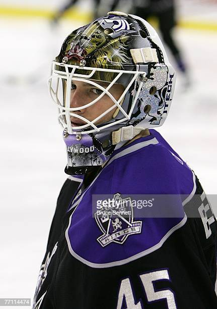 Jonathan Bernier of Los Angeles Kings warms up prior to the NHL game between Los Angeles Kings and Anaheim Ducks and at O2 Arena on September 30 2007...
