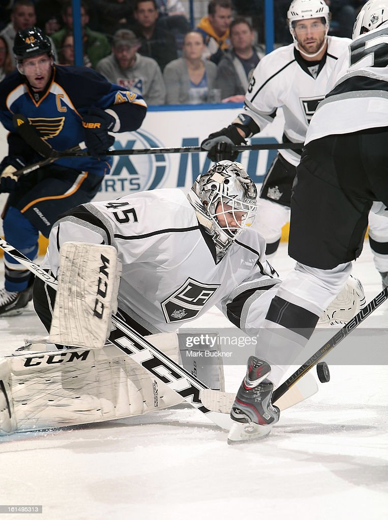 <a gi-track='captionPersonalityLinkClicked' href=/galleries/search?phrase=Jonathan+Bernier&family=editorial&specificpeople=540491 ng-click='$event.stopPropagation()'>Jonathan Bernier</a> #45 of the Anaheim Ducks defends against the St. Louis Blues in an NHL game on February 11, 2013 at Scottrade Center in St. Louis, Missouri.