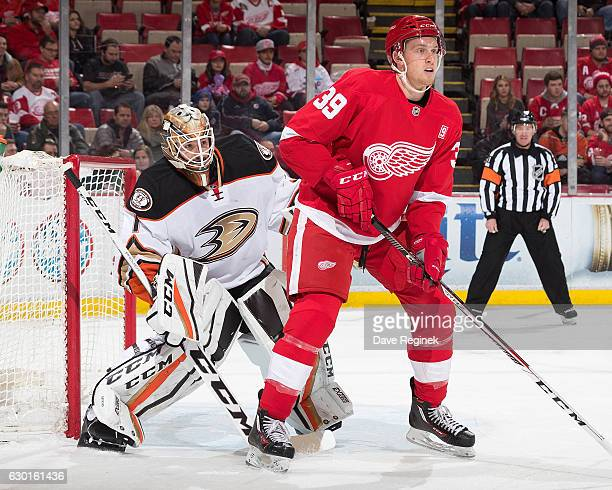 Jonathan Bernier of the Anaheim Ducks looks around Anthony Mantha of the Detroit Red Wings as he posts up on front of the net during an NHL game at...