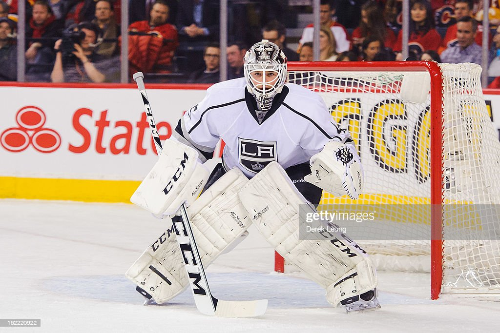 Jonathan Bernier #45 of the Los Angeles Kings defends the net against the Calgary Flames during an NHL game at Scotiabank Saddledome on February 20, 2013 in Calgary, Alberta, Canada.
