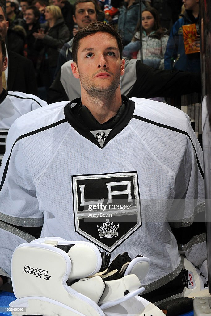 Jonathan Bernier #45 of the Los Angeles Kings stands for the singing of the national anthem prior to a game against the Edmonton Oilers on February 19, 2013 at Rexall Place in Edmonton, Alberta, Canada.