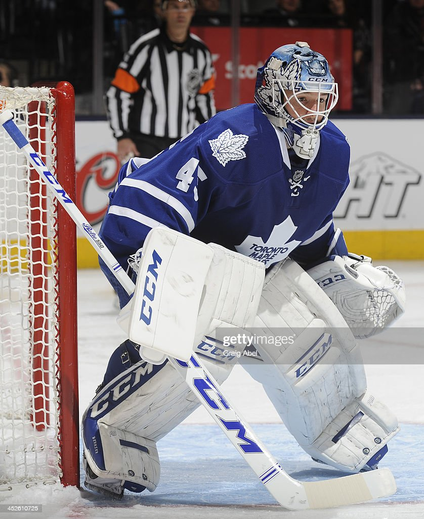 Jonathan Bernier #45 of the Toronto Maple Leafs defends the goal during NHL game action against the New York Islanders November 19, 2013 at the Air Canada Centre in Toronto, Ontario, Canada.