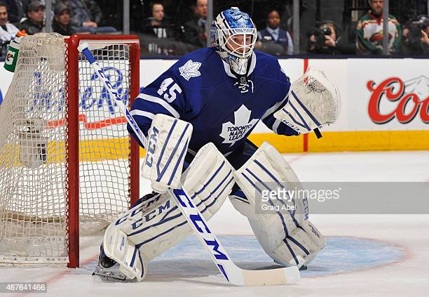 Jonathan Bernier of the Toronto Maple Leafs defends the goal during NHL game action action against the Minnesota Wild March 23 2015 at the Air Canada...