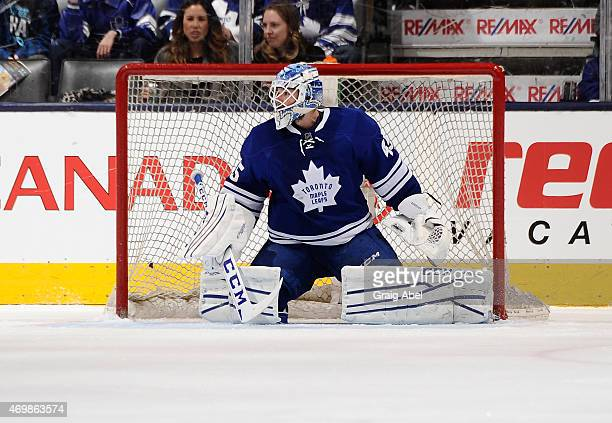 Jonathan Bernier of the Toronto Maple Leafs defends the goal during NHL game action against the Montreal Canadiens April 11 2015 at the Air Canada...