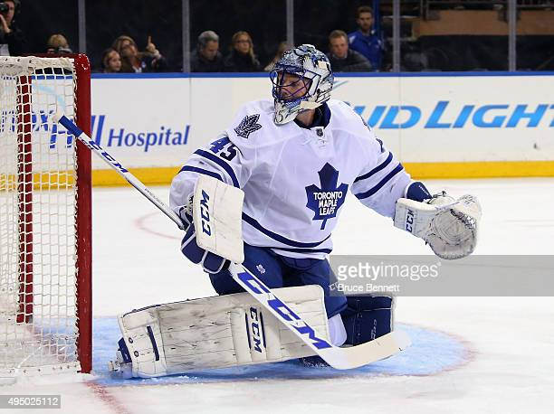 Jonathan Bernier of the Toronto Maple Leafs tends net against the New York Rangers at Madison Square Garden on October 30 2015 in New York City The...