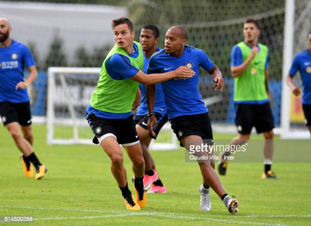 Jonathan Biabiany and Zinho Vanheusden of FC Internazionale compete for the ball during a training session on July 14 2017 in Reischach near Bruneck...