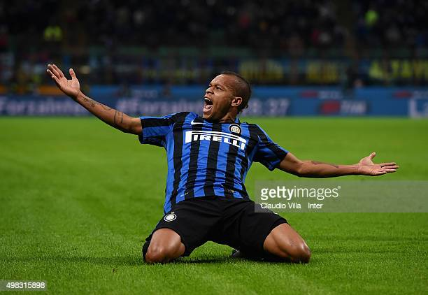 Jonathan Biabiany of FC Internazionale celebrates after scoring the opening goal during the Serie A match between FC Internazionale Milano and...