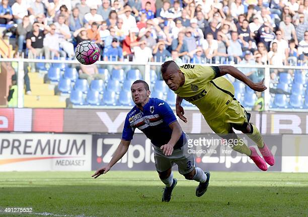 Jonathan Biabiany of FC Internazionale in action during the Serie A match between UC Sampdoria and FC Internazionale Milano at Stadio Luigi Ferraris...