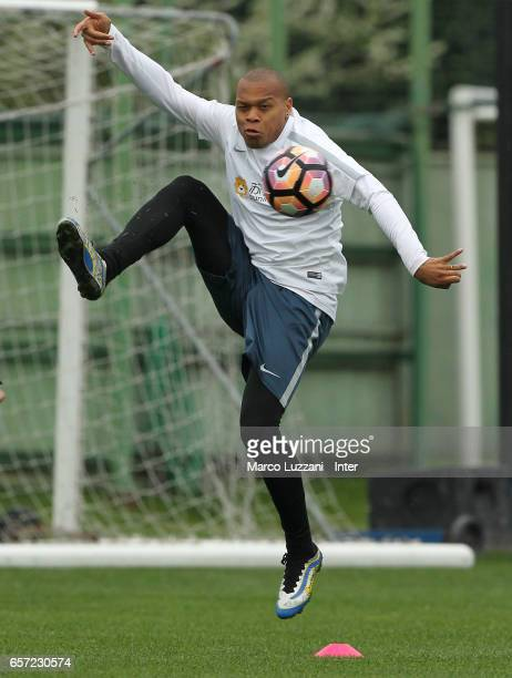 Jonathan Biabiany of FC Internazionale Milano controls the ball during the FC Internazionale training session at the club's training ground Suning...