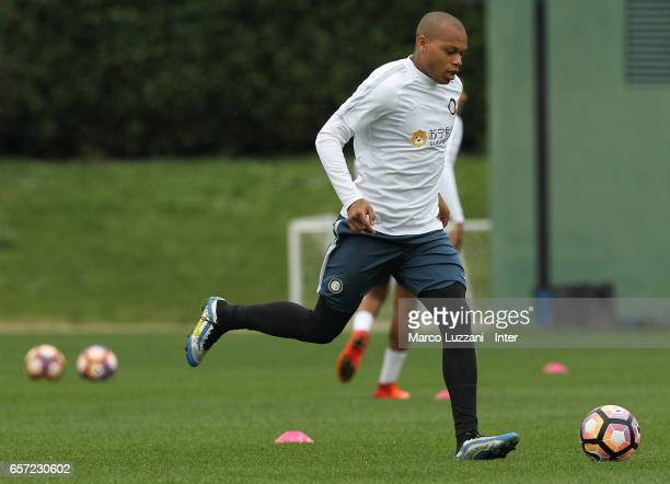 Jonathan Biabiany of FC Internazionale Milano in action during the FC Internazionale training session at the club's training ground Suning Training...