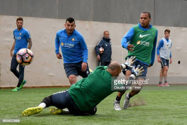 Jonathan Biabiany of FC Internazionale shoots during FC Internazionale training session at Suning Training Center at Appiano Gentile on April 18 2017...
