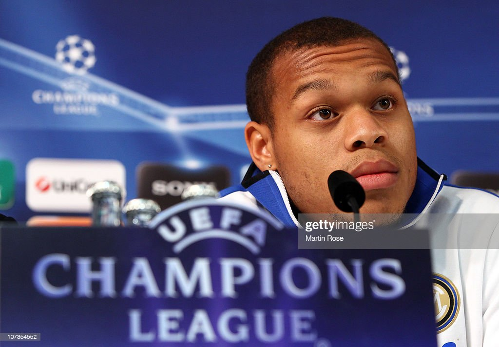 <a gi-track='captionPersonalityLinkClicked' href=/galleries/search?phrase=Jonathan+Biabiany&family=editorial&specificpeople=5973634 ng-click='$event.stopPropagation()'>Jonathan Biabiany</a> of Milano attends the press conference ahead of the UEFA Champions League Group A match against Werder Bremen at the Weser Stadium on December 6, 2010 in Bremen, Germany.