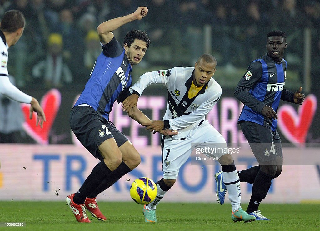 Jonathan Biabiany of Parma FC #7 and Andrea Ranocchia of FC Inter Milan compete for the ball during the Serie A match between Parma FC and FC Internazionale Milano at Stadio Ennio Tardini on November 26, 2012 in Parma, Italy.