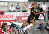 Jonathan Biabiany of Parma FC in action during a preseason friendly match between Parma FC and SK Slavia Praha on July 20 2011 in Levico Terme near...