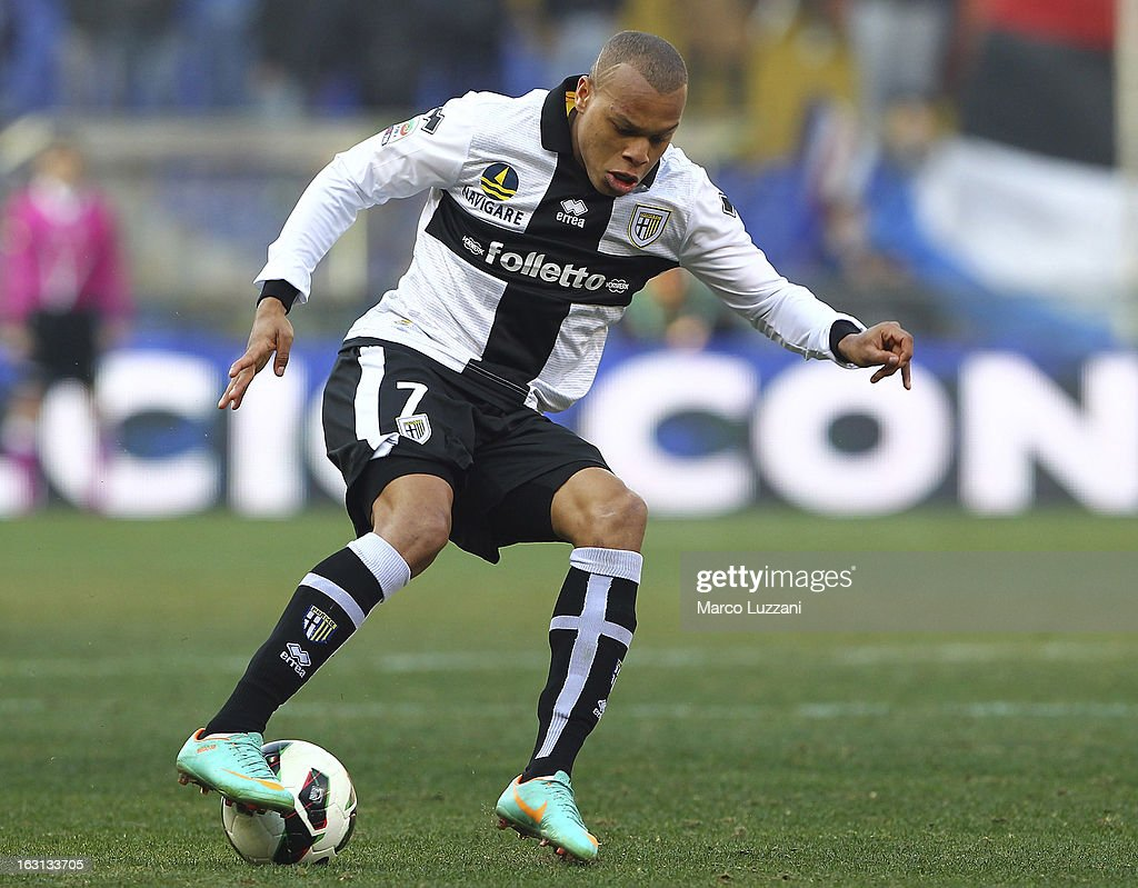 Jonathan Biabiany of Parma FC in action during the Serie A match between UC Sampdoria and Parma FC at Stadio Luigi Ferraris on March 3, 2013 in Genoa, Italy.
