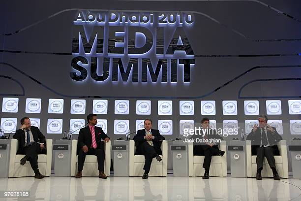 Jonathan Bloom CEO Breaking Media moderates a panel discussion with Samir Arora CEO Glam Media Etihad Airways CEO James Hogan Warner Bros President...