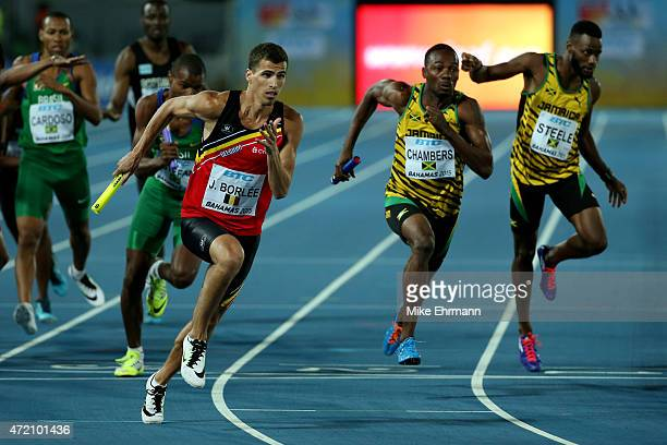 Jonathan Borlée of Belgium competes in the final of the men's 4 x 400 metres relay on day two of the IAAF/BTC World Relays Bahamas 2015 at Thomas...