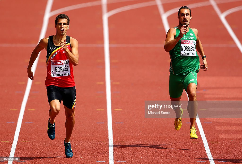 Jonathan Borlee (L) of Belgium and Richard Morrissey of the Republic of Ireland compete in the Men's 400 metres heats during day one of the 22nd European Athletics Championships at Stadium Letzigrund on August 12, 2014 in Zurich, Switzerland.