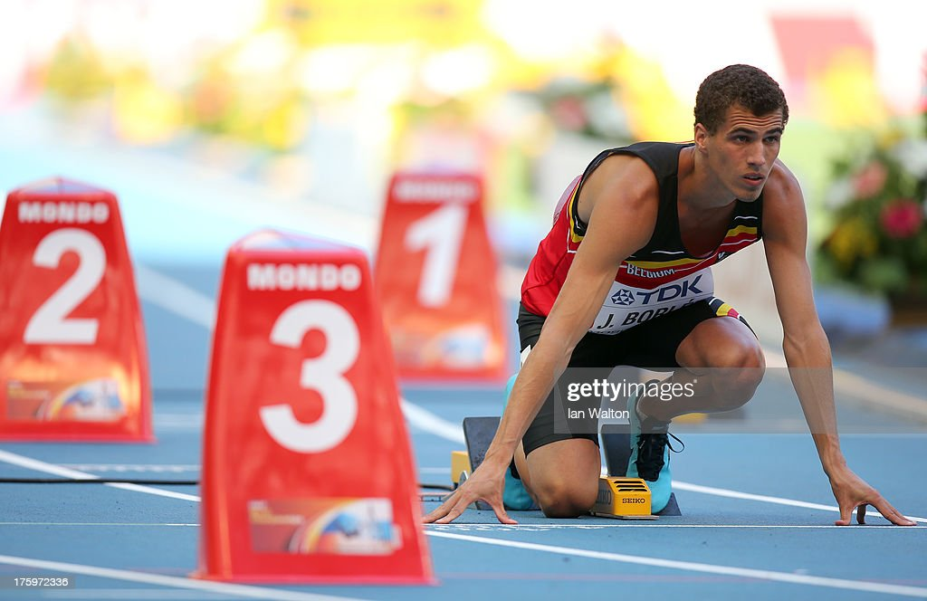 <a gi-track='captionPersonalityLinkClicked' href=/galleries/search?phrase=Jonathan+Borlee&family=editorial&specificpeople=2236169 ng-click='$event.stopPropagation()'>Jonathan Borlee</a> of Belgium competes in the Men's 400 metres heats during Day Two of the 14th IAAF World Athletics Championships Moscow 2013 at Luzhniki Stadium on August 11, 2013 in Moscow, Russia.