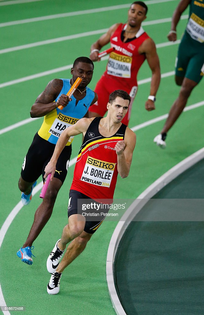 <a gi-track='captionPersonalityLinkClicked' href=/galleries/search?phrase=Jonathan+Borlee&family=editorial&specificpeople=2236169 ng-click='$event.stopPropagation()'>Jonathan Borlee</a> of Belgium competes in the Men's 4x400 Metres Relay Heats during day three of the IAAF World Indoor Championships at Oregon Convention Center on March 19, 2016 in Portland, Oregon.