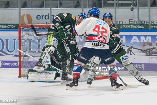 Jonathan Boutin of Augsburger Panther Gabe Guentzel of Augsburger Panther Chad Kolarik of Adler Mannheim and Arvids Rekis of Augsburger Panther...
