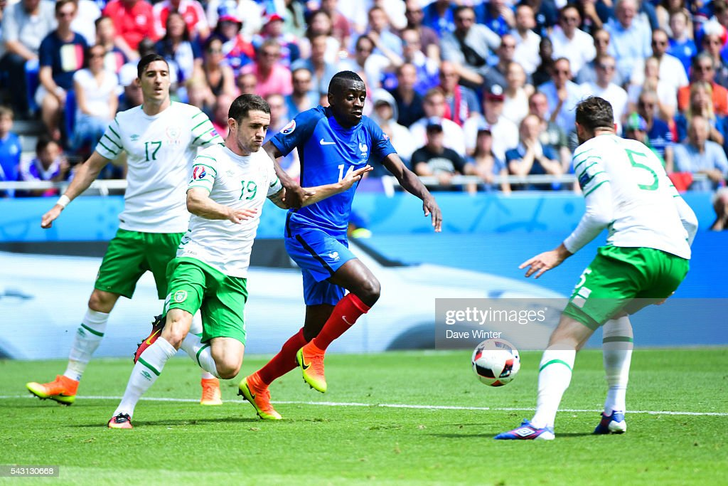 Jonathan Brady of Ireland and Blaise Matuidi of France during the European Championship match Round of 16 between France and Republic of Ireland at Stade des Lumieres on June 26, 2016 in Lyon, France.